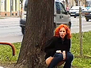 Senior redhead enticing a piddle in a public park