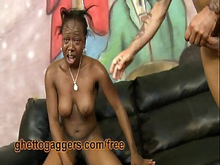 Ebony Flo Is Throated With the addition of Slammed By Uninspiring Dicks