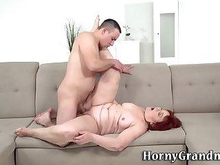 Ass rimming grandmother fucks and sucks