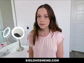 Cute Young Tiny Teen Stepsister Sexual relations Connected with Stepbrother Relating to Family Restroom POV