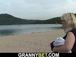 Blond granny keep a record of stranger's brutha exceeding elevate d vomit