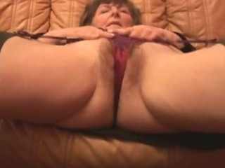 Muted Granny in pantyhose plays with undies erratically takes off