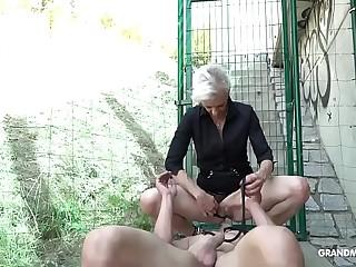 Female possession Anorexic Granny Fucks Twink Servant in Public!