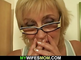 Old peaches sucking and riding his young cock