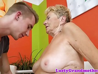 Nearby euro granny gets hairy pussy banged