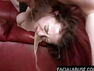 Honcho Redhead gags abyss on a cock