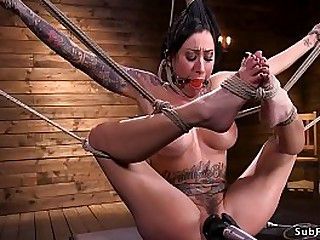 Oustandingly fake boobs shady alt slut Lily Whirl with dancing party gag suffers extreme wire thraldom till finishes in hogtie thraldom with bamboo