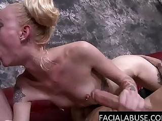 Extreme Teen throats 2 cocks deep